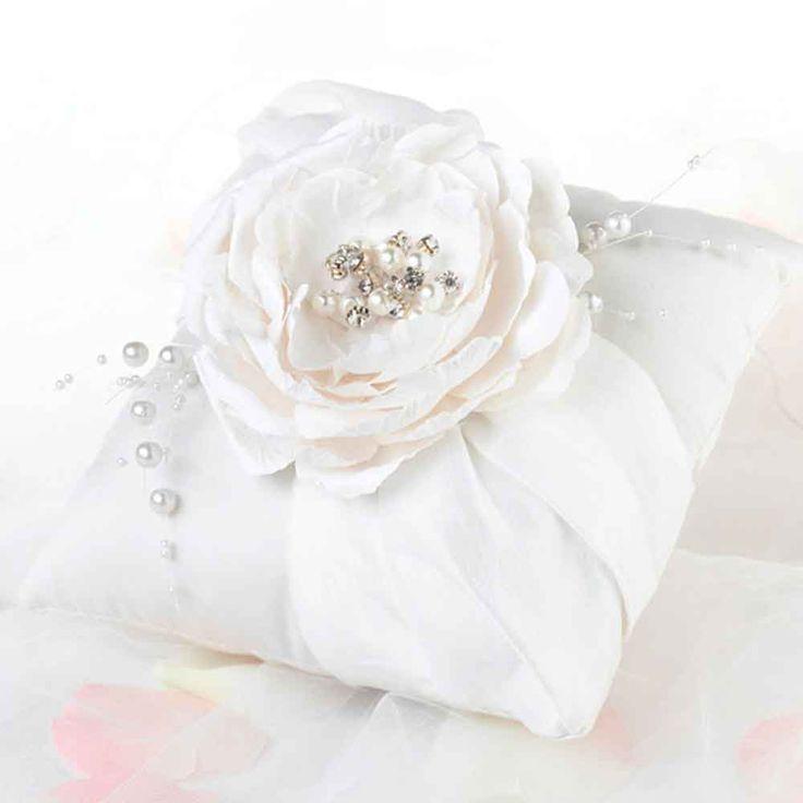 Cream satin wedding ring pillow with cream sash and flower