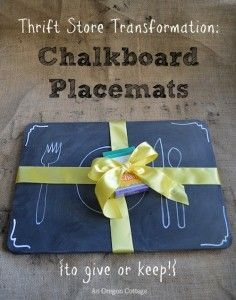 Thrifted Chalkboard Placemats. I would paint over old placemats.