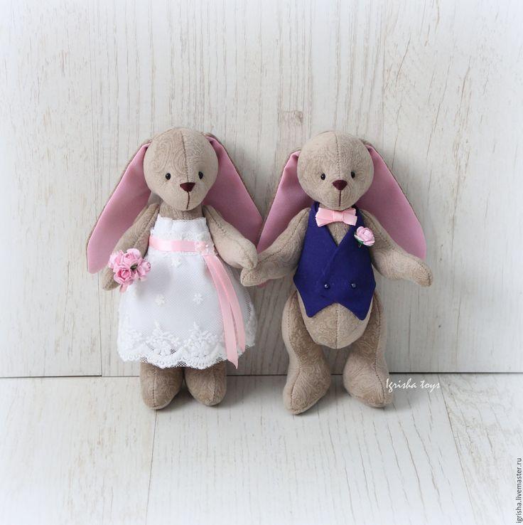 Купить Свадебные зайки с сердечком (на годовщину) - розовый, свадебные зайцы, свадьба, свадебные аксессуары