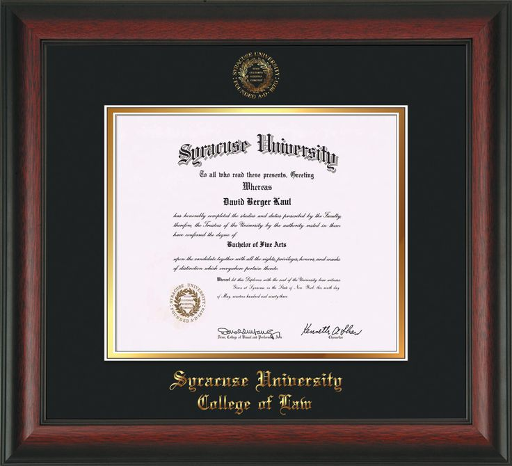 Syracuse University Diploma Frame-Rosewood-w/SU Law-Black on Gold – Professional Framing Company
