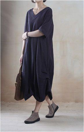 Casual Linen Dress in Navy Blue