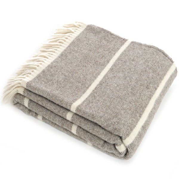 HICKS and HICKS Lambswool Throw Grey Cream - Hicks & Hicks