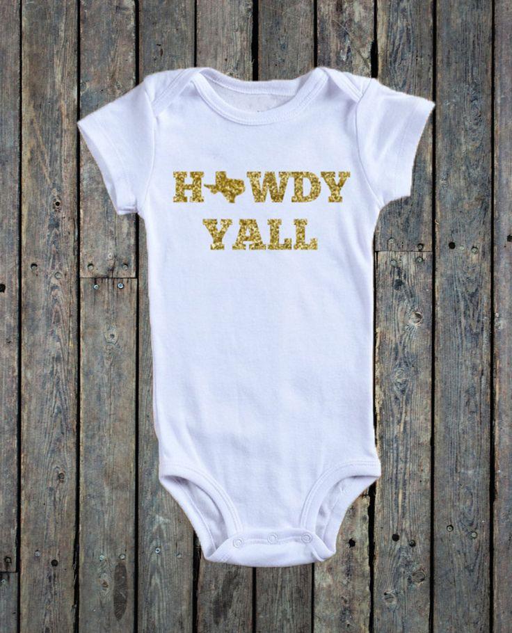 Howdy Yall Onesie®/ Texas Onesie®/ Gold Glitter Onesie®/ Howdy Onesie®/ Baby girl Onesie®/ Country onesie®/ Western onesie® by RustikBoutique on Etsy
