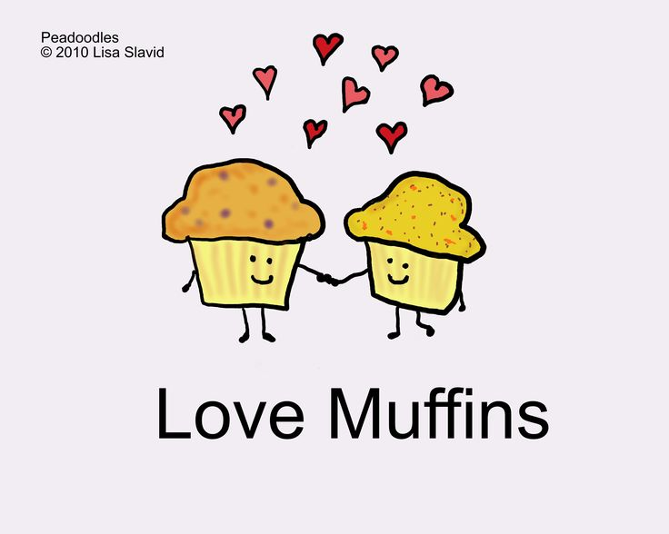 love, cute, funny, cooking, cartoon, muffins, valentine, peadoodles, pun, love muffins, humor, valentine's, valentine's day