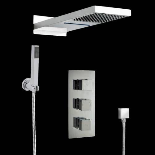 Ensemble complet mitigeur de douche Thermostatique à encastrer Triple Robinets trois - Image 1