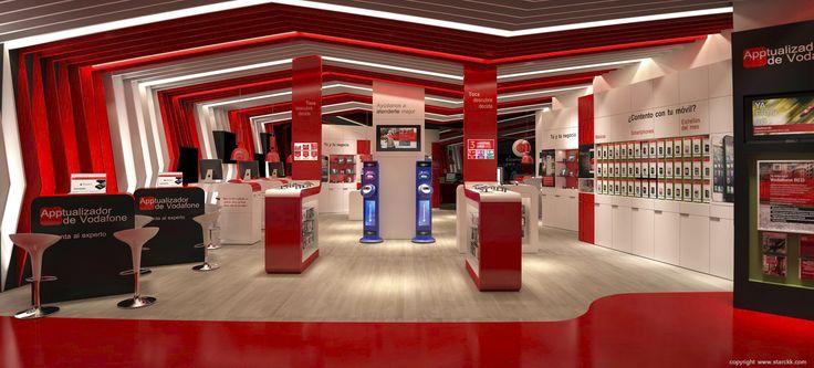 render/infografía 3d de tienda vodafone realizado por www.starckk.com