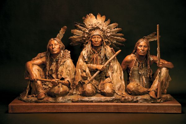 "Lakota legends (from left) Gall, Sitting Bull and Crazy Horse make their mark in John Coleman's ""1876."""