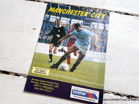 1988 MANCHESTER CITY versus WALSALL official match programme Barclays league division two Manchester City vtg gift for Cities fans sz/609