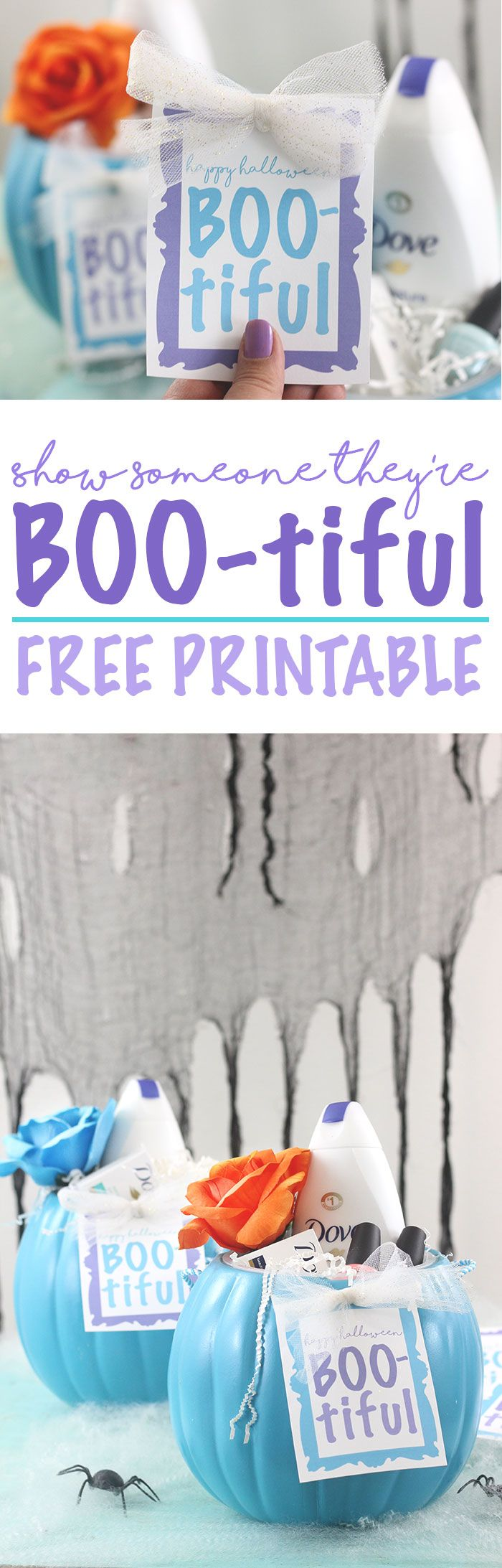 Halloween DIY Gift Idea. Show someone they're BOO-tiful with a self esteem boosting gift. Free printable gift tag for Halloween. AD #RealBeauty #PassionforDove