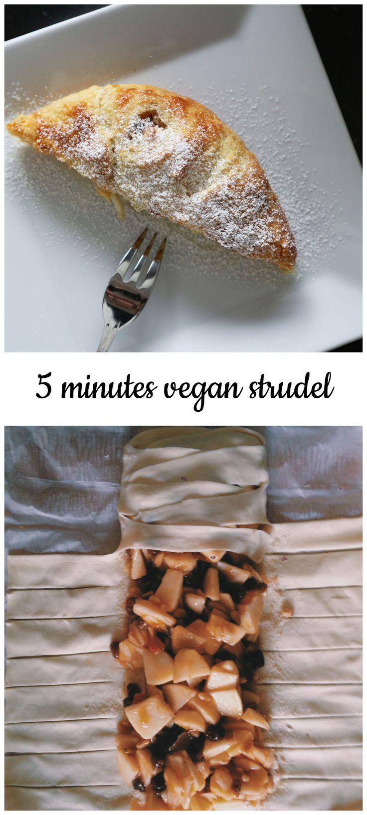 5 minutes vegan strudel, apples, easy, simple, vegan, plant based, vegan breakfast