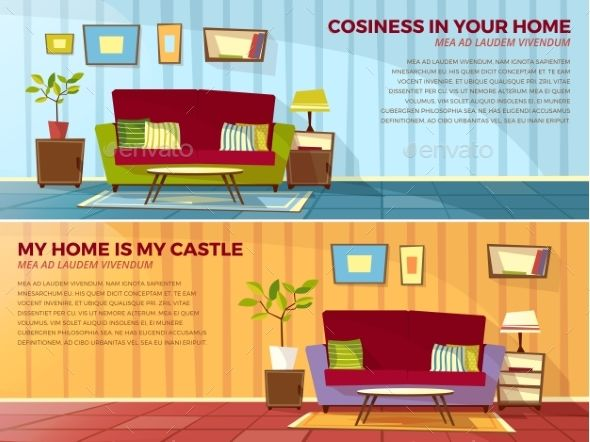 Room Interior Design Vector Cartoon Illustration With Images