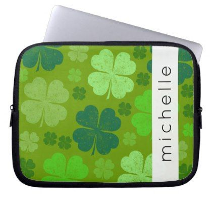 Your Name - Saint Patrick's Day Clovers - Green Computer Sleeve - holidays diy custom design cyo holiday family