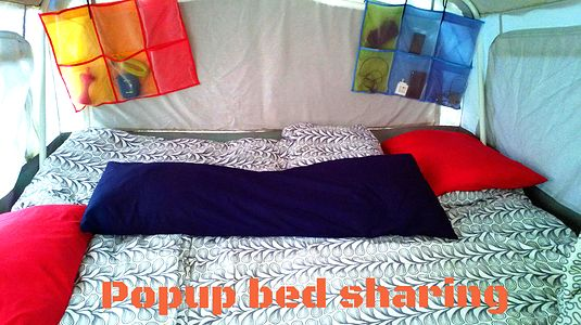 Make your popup comfy and organized, bed sharing for children in a camper.