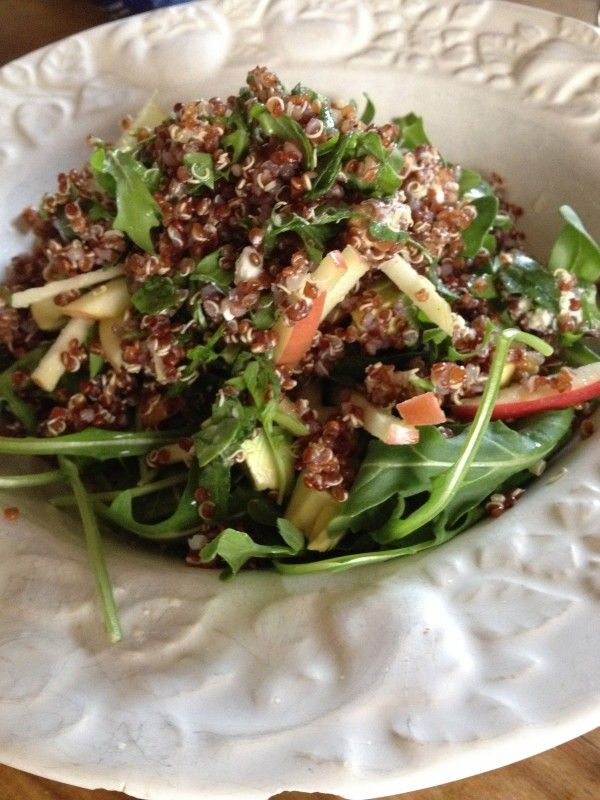 Red quinoa, arugula, Fuji apple, pistachios salad. Had similar one at lemonade restaurant in LA, sooooo good.
