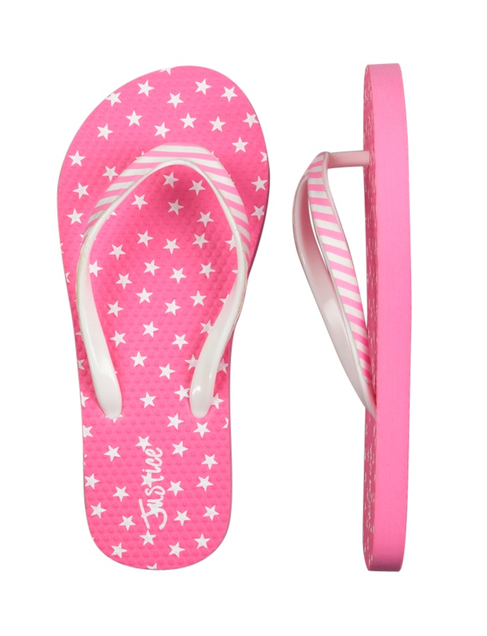 Neon Pink Stars & Stripes Flip Flops | Flip Flops | Shoes | Shop Justice