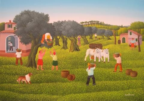 Olive Harvest by Cesare Marchesini, size: 50cmX70cm. Painting matierial: Oil on canvas