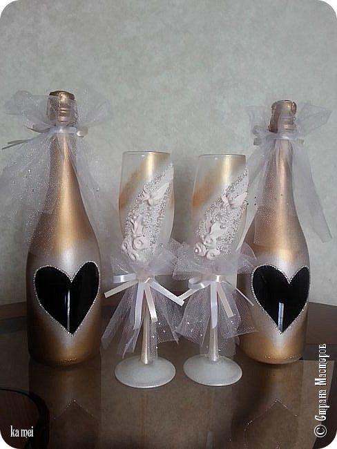 Всем доброго времени! Через месяц намечается семейное торжество , женится мой единственный сынишка...  Приготовила на его свадьбу бутылки - украшалки  Этот наборчик на стол  для жениха и невесты фото 2