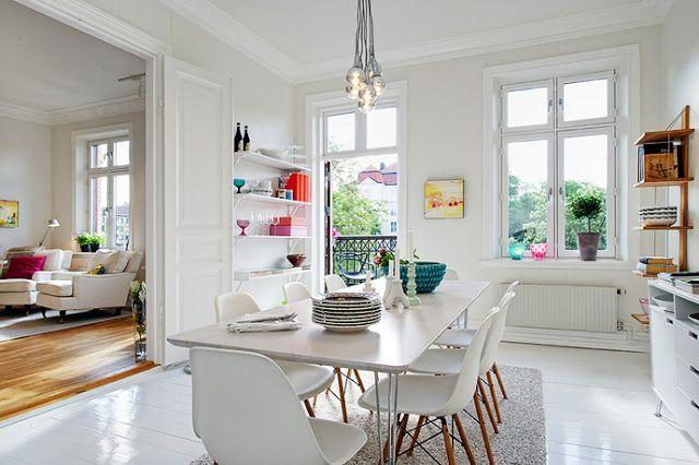 Scandinavian Modern Living White Room Kitchen