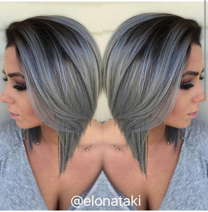 Rooty silver gray angled bob hair