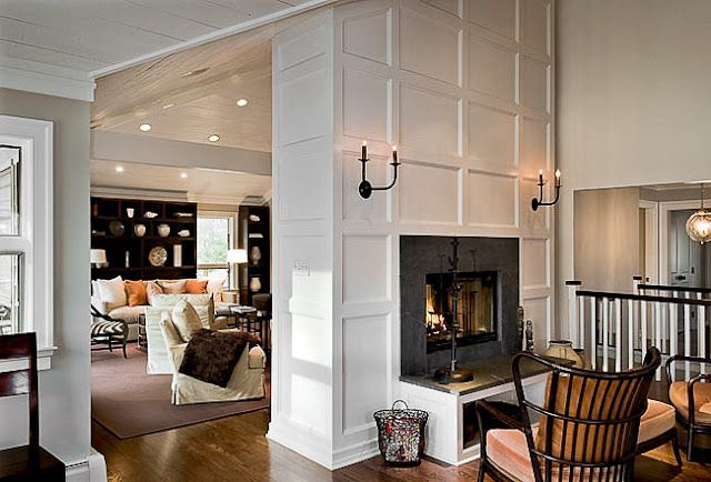 Two sided fire places = make into a tower between living and dining room