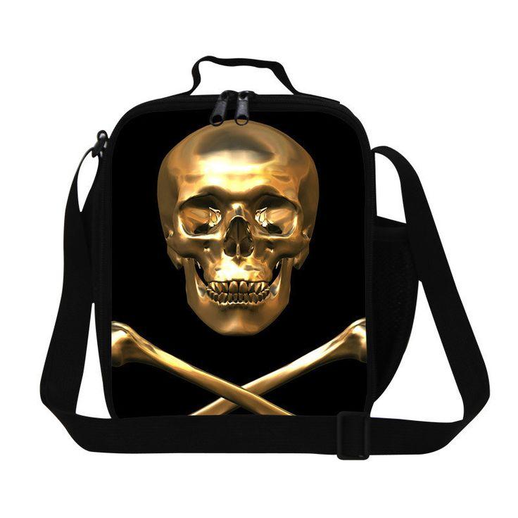 Designer Skull insulated lunch bags for kids,lunch cooler bags for men work,stylish lunch bags with straps for children school