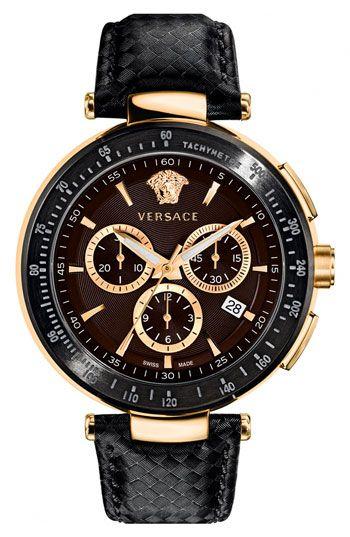 Versace 'Mystique Chrono' Guilloche Dial Watch