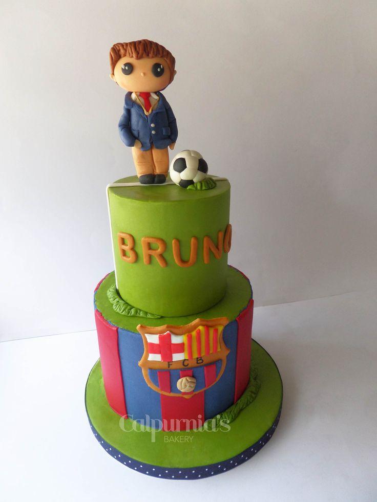 FCB Barcelona cake Communion football fondant cake