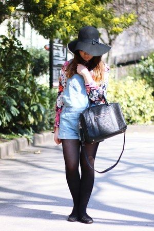 black Primark hat - black Primark bag - light blue denim Primark romper