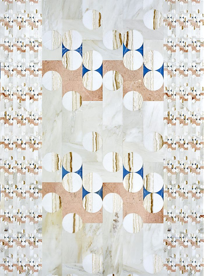 Pierres décoratives Mosaïque en marbre et onyx Balloon, design Patricia Urquiola (Budri)