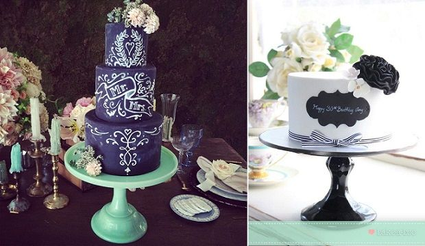 Chalkboard Cakes on Cake Geek Magazine (cakes by The Vanilla Bake Shop left, Bake A-Boo Cake Design right). See the full collection of chalkboard wedding cakes and celebration cakes here http://cakegeek.co.uk/index.php/chalkboard-cakes/