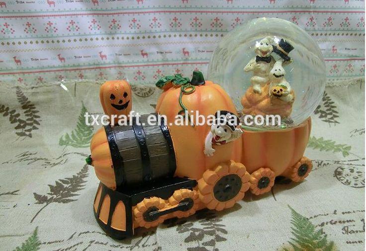 Custom creative pompoen trein met schedel ontwerp polyresin sneeuwbol voor decoratie-afbeelding-folk ambachten-product-ID:60450838590-dutch.alibaba.com