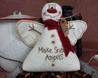 Snow Day Snowman Pattern 161 Primitive Doll от GingerberryCreek