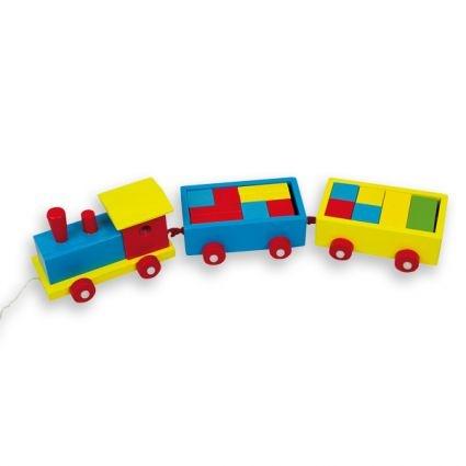 Tren arrastre con construcciones de madera a todo color.  Dimensiones: 40x6x8 cm.  Envase: 46x11x11 cm.  Piezas: 14.  Edad: +2 años. http://www.juguetestradicionales.com/