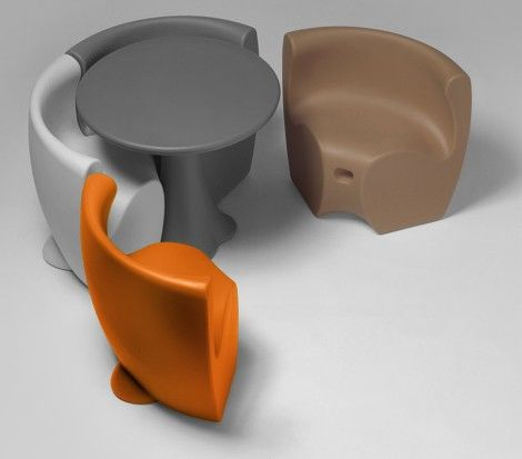 Compact Table And Chair Plastic Outdoor Furniture Set. Love The Colors Too.