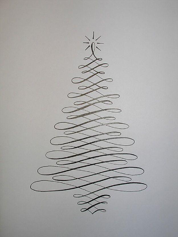 Christmas Cards! Simple Calligraphy Christmas Tree Card   http://diyready.com/22-handmade-calligraphy-christmas-cards-diy-christmas-cards/