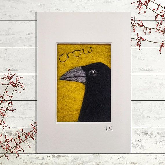 Crow felted wool wall art felt picture  miniature black bird