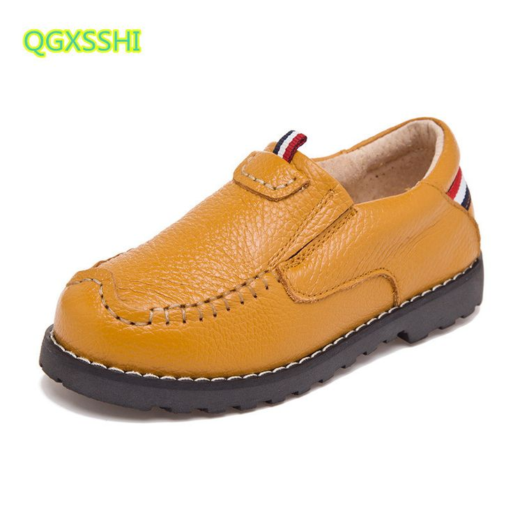 QGXSSHI Genuine Leather Breathable Spring Autumn Children casual shoes kids peas shoes boys soft bottom Student sports shoes #Affiliate