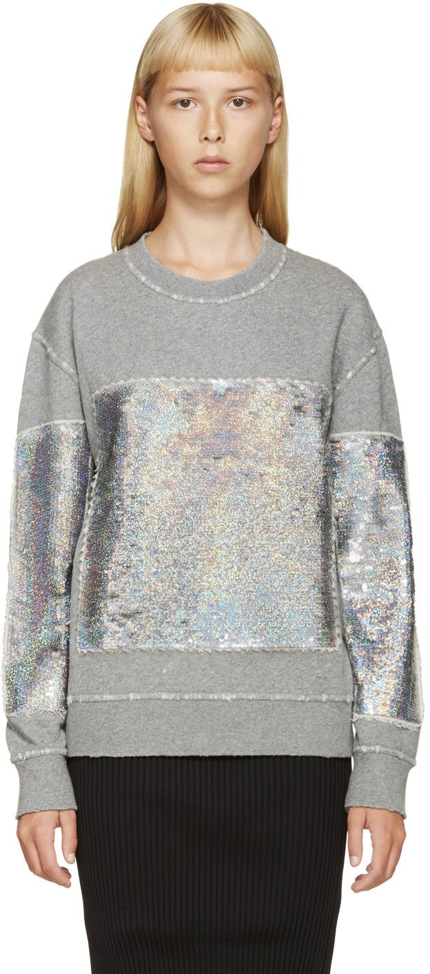 Filles a Papa Grey Holographic Sequin Sweatshirt