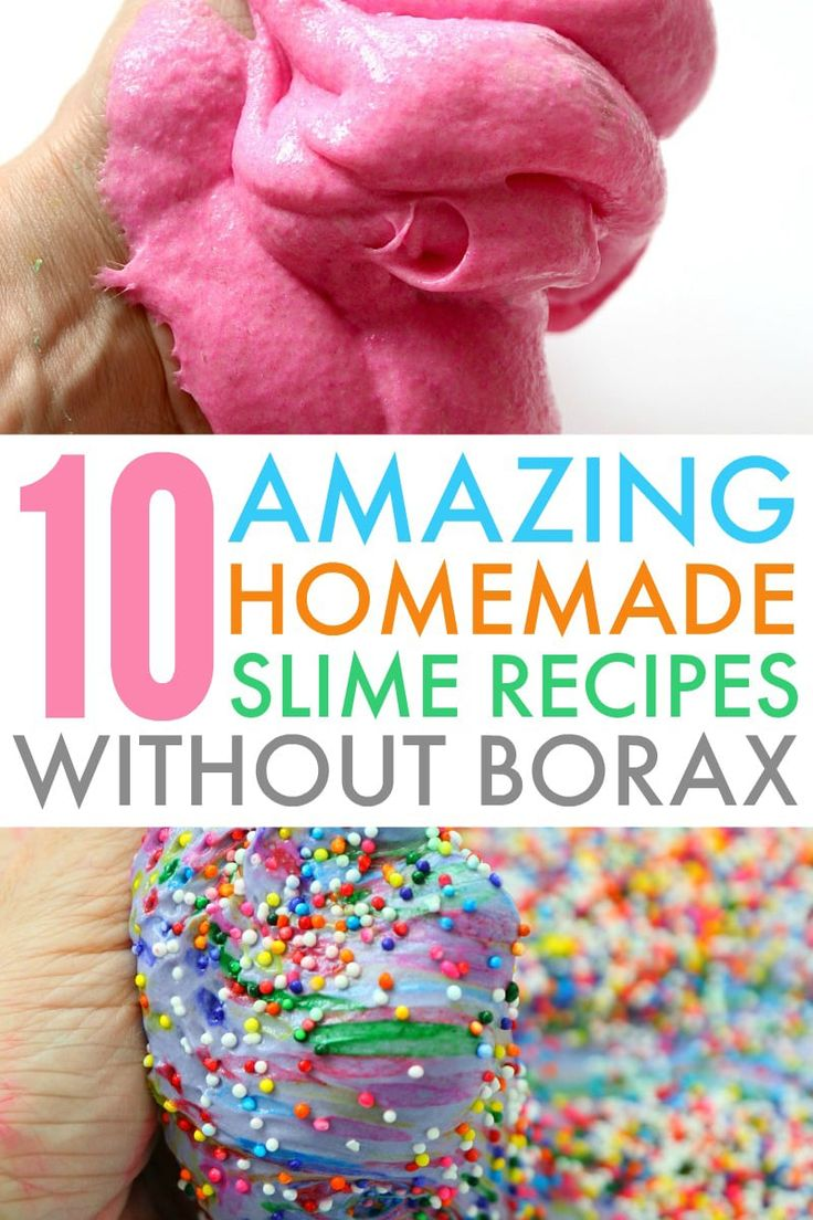 Learn how to make a Homemade Slime Recipe Without Borax with 10 amazing ideas including fluffy slime, unicorn poop slime, glow-in-the-dark slime & more!