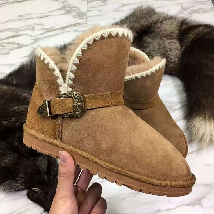 119.77$  Watch here - http://aliy1l.worldwells.pw/go.php?t=32752485361 - Luxury Winter Australia Snow Boots Sheepskin Boots Natural Wool Sheep Fur Boots Short Buckle Sweet Bow Flat Women Ankle Boots 119.77$