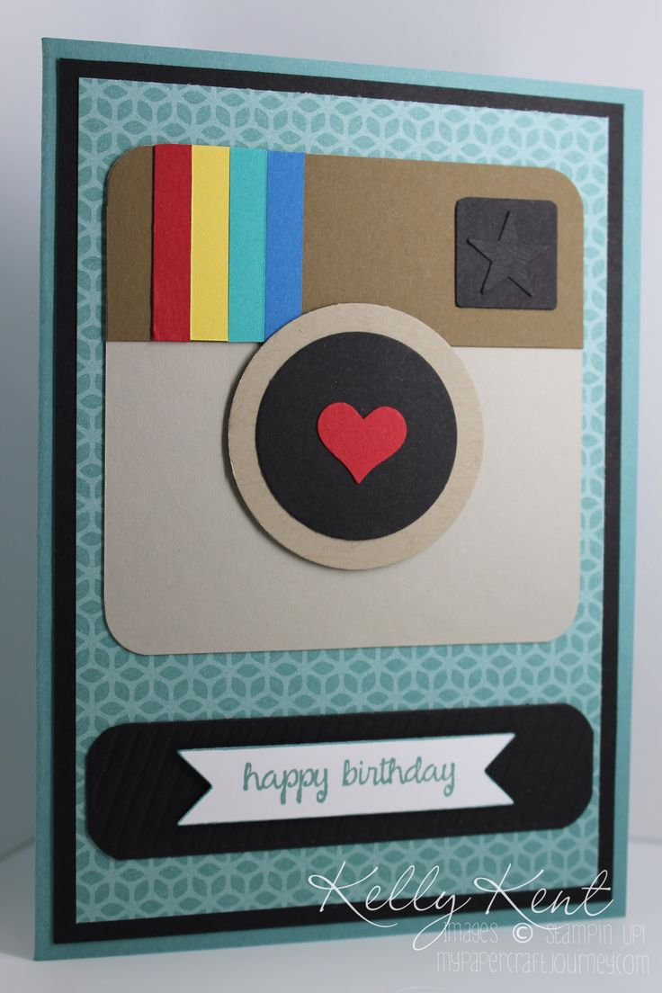 instagram camera card by Kelly Kent using Stampin Up punches