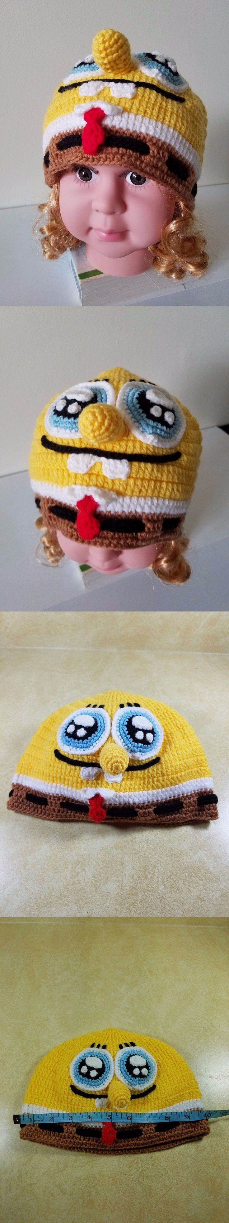 Hats 163224: 5-10 Year Old Kids Halloween Spongbob Squarepants Character Hand Crocheted Hat -> BUY IT NOW ONLY: $30 on eBay!