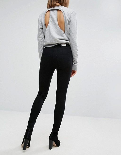 cheap monday spray on high waist skinny jeans. asos. black.