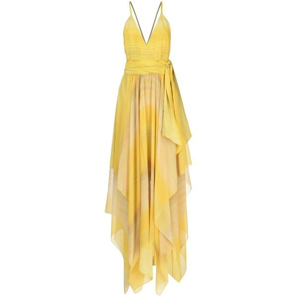 Alice + Olivia Long Dress ($480) ❤ liked on Polyvore featuring dresses, yellow, beige long dress, deep v-neck dress, long dresses, yellow dresses and long silk dress