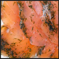 Scottish Gravadlax Smoked Salmon Hand Sliced - a special smoked salmon treat, prepared in a traditional Scottish smokehouse and seasoned to smoky perfection. This Scottish Gravadlax is marinated in a special mustard and dill sauce for an exquisite flavor; it makes a unique and delicious appetizer. Pinnacle products are a top quality brand and this smoked salmon is a bright star in our gourmet food online constellation. - $11.00 (4 oz)