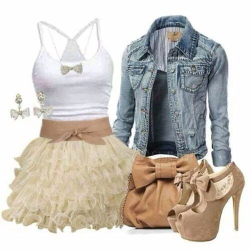 jean jacket, white tank, cute nude skirt outfit