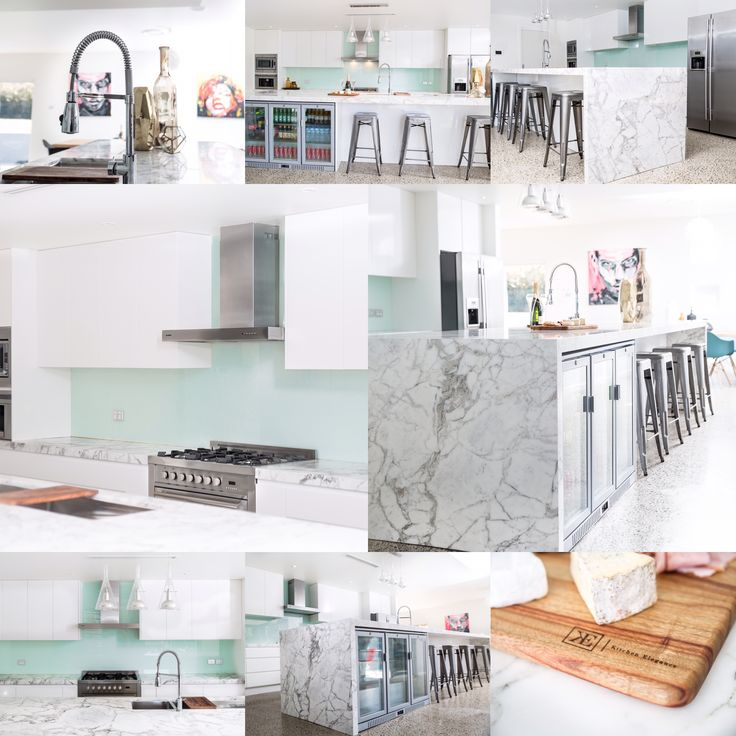Designer white luxury kitchen in Sydney, private residence. Open plan Carrara Marble Bench Top with large 4.5m Island. White Polyurethane Cabinets and Doors with Shark Nose Finger Pull Handles.
