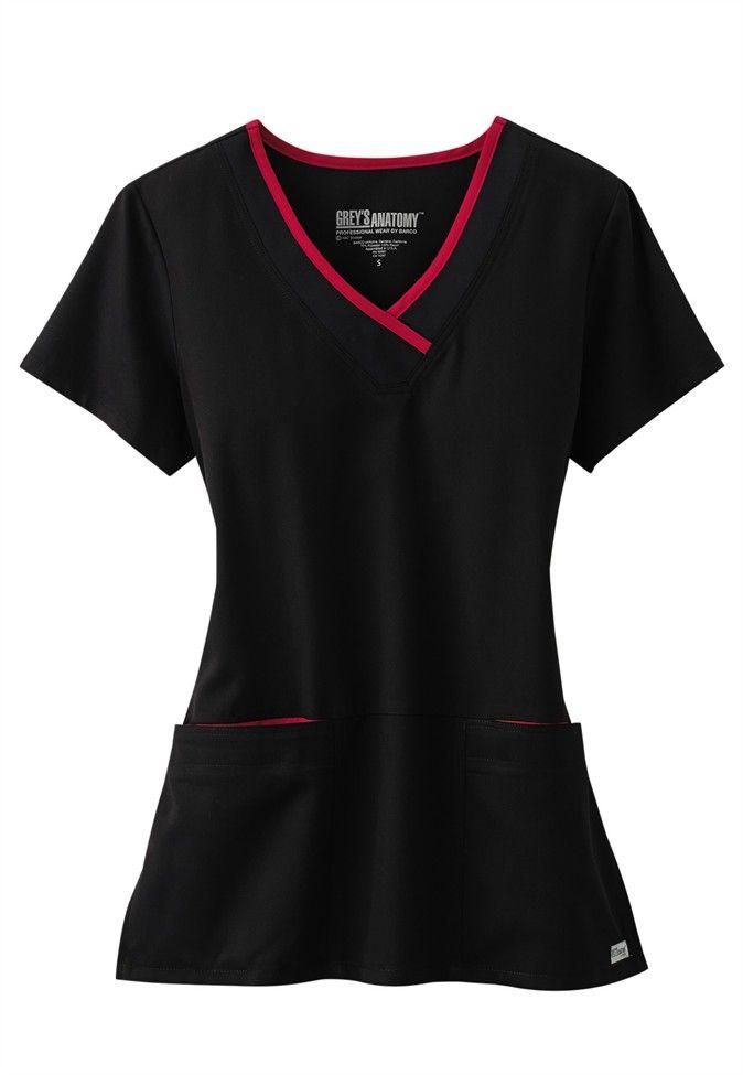 Greys Anatomy color block contrast neck scrub top. - Scrubs and Beyond