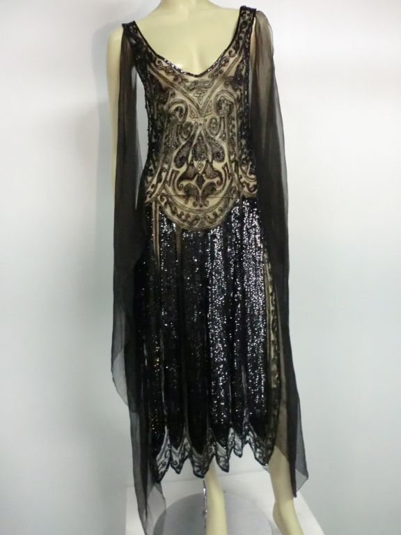 Divine French 1920s Silk Chiffon Beaded/Sequined Evening Dress | From a collection of rare vintage evening dresses at http://www.1stdibs.com/fashion/clothing/evening-dresses/