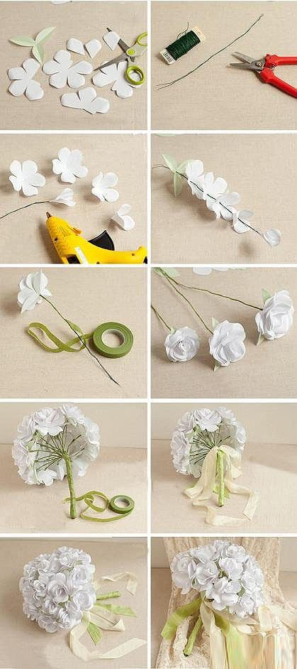 (转载)折纸婚礼捧花DIY 1、如图在白板纸先画出花的形状,一般一朵花需要三个花瓣的2个,四个花瓣的1个,五个花瓣的2个,另外用淡绿色的纸剪出三个叶的花托,把画好的花型剪下来 2、把铁丝剪下一截,注意要留的稍微长一些 3、首先把准备好的三个瓣的花瓣粘贴在铁丝上 4、把剩下1个三个瓣的花瓣,1个四个瓣的花瓣,2个五个瓣的花瓣,花托依次穿好 5、用绿色胶带把露在外面的铁丝包裹好 6、这样单枝的手捧花就做好了 7、大约做20支左右的单花,把它们如图用绿色胶带缠绕上扎成花束 8、在绿色胶带上面的接口处扎上漂亮